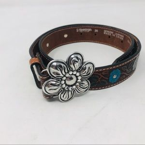 Nocona Brown Tooled leather Bread Flower Buckle